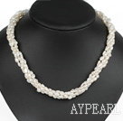 Wholesale Classic Design Four Strands White Freshwater Pearl and White Crystal Necklace