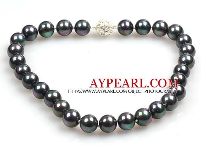 14mm Black with Colorful Round Sea Shell Beaded Necklace with Magnetic Clasp