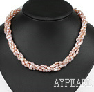 Wholesale Classic Design Four Strands Purple Freshwater Pearl and White Crystal Necklace