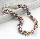 Wholesale Classic Design Four Strands Multi Color Baroque Pearl and Crystal Necklace