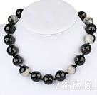 Wholesale 18mm round faceted crystallized agate neclace with moonlight clasp