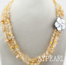 Three Strands Fillet Citrine Chips Necklace with Shell Flower Clasp