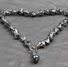 Long Barrel Shape Black Agate and Round White Freshwater Pearl Necklace