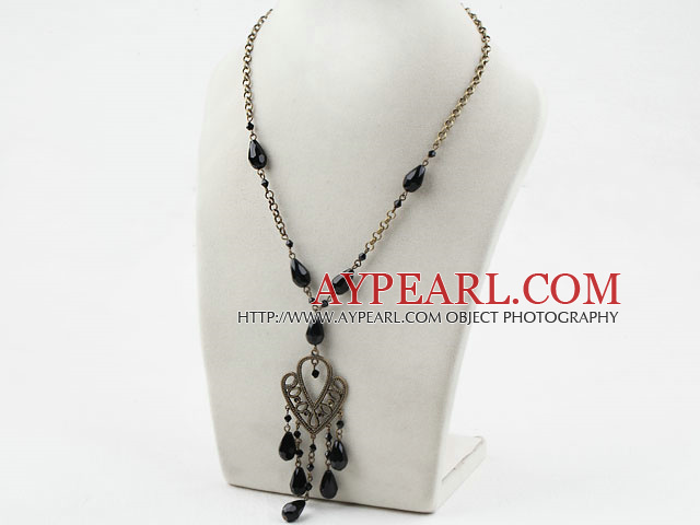 Drop Shape Black Crystal Necklace with Bronze Chain
