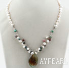 Wholesale White Freshwater Pearl and Indian Agate Pendant Necklace