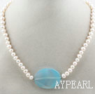 Wholesale White Freshwater Pearl and Big Blue Agate Necklace
