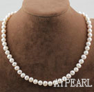 Single Strand 8-9mm Round White Freshwater Pearl Beaded Necklace