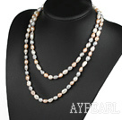 Long Style White Pink Gary Color Freshwater Pearl Beaded Necklace
