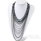 Fashion Style Multi Layer Black Crystal och Hematit Uttalande Halsband med metall kedja