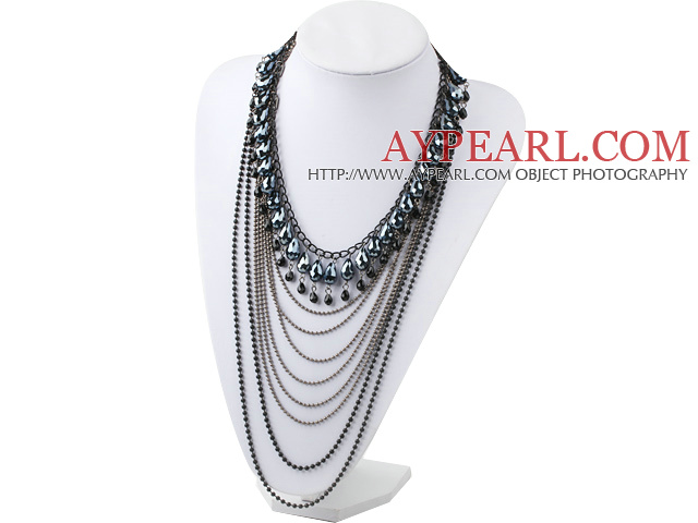 Fashion Style Multi Layer Black Crystal and Hematite Statement Necklace with Metal Chain