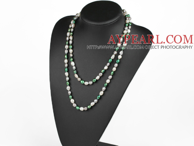 Long Style White Green Gary Color Freshwater Pearl Beaded Necklace