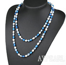 Wholesale Long Style White Blue Color Freshwater Pearl Beaded Necklace