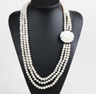 Fashion 3 Strand 8-9mm Natural Near Round White Pearl Necklace (Sweater Chain) With Shell Flower Clasp