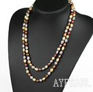 Long Style Gray Brown and Golden Color Freshwater Pearl Beaded Necklace