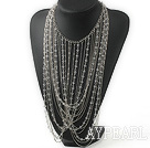New Style Fashion Design Clear Crystal and Metal Chain Party Statement Necklace