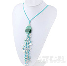 White Freshwater Pearl and Amazon Stone Pendant Tassel Necklace