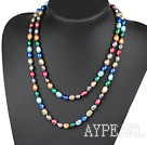 Lang stil Assortert Multi Color Freshwater Pearl Beaded halskjede