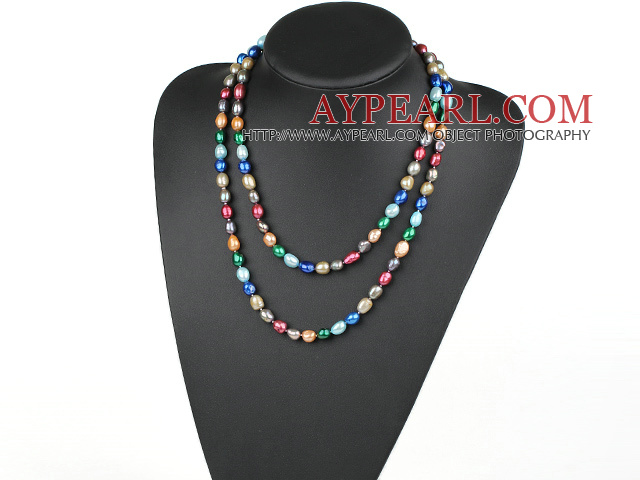 Long Style Assorted Multi Color Freshwater Pearl Beaded Necklace