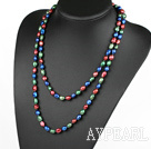 Wholesale Long Style Red Blue Green Color Freshwater Pearl Beaded Necklace