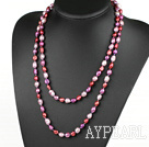 Wholesale Long Style Purple Red Color Freshwater Pearl Beaded Necklace