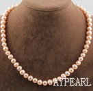 Single Strand 8-9mm Round Natural Pink Freshwater Pearl Beaded Necklace