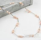 Classic Design Pink Freshwater Pearl Tin Cup Necklace with Lobster Clasp