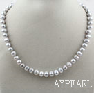 Single Strand 8-9mm Round Gray Freshwater Pearl Beaded Necklace