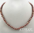 Single Strand 8-9mm Round Brown Freshwater Pearl Beaded Necklace