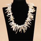 Long Teeth Shape White Shell and Weaved Shape Black Agate Necklace