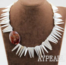 Long Teeth Shape White Shell and Agate Necklace