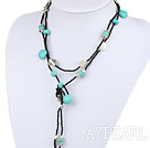 Free Style Turquoise and White Freshwater Pearl Long Style Necklace