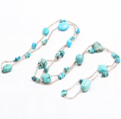 Fashion Long Style Irregular Shape Blue Turquoise Necklace