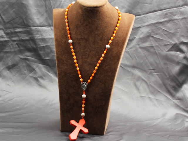 Classic Design Fashion Long Y Shape Orange Frosted Banded Agate Necklace With Cross Shape Turquoise Pendant