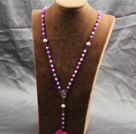 Wholesale Classic Design Fashion Long Y Shape Light Purple Frosted Banded Agate Necklace With Cross Shape Turquoise Pendant