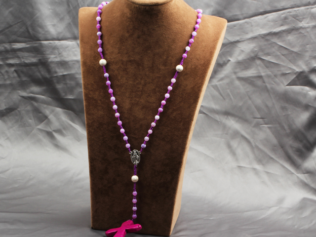 Classic Design Fashion Long Y Shape Light Purple Frosted Banded Agate Necklace With Cross Shape Turquoise Pendant