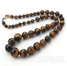 Single Strand Round Tiger Eye Graduated Beaded Necklace