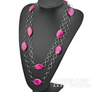 Wholesale vogue party jewerly pink agate necklace with metal loops