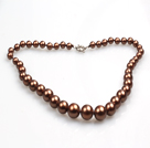 Elegant Design Dark Brown Seashell Graduated Beaded Necklace