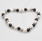 Fashion Single Strand 12Mm Whilte Black Grey Faceted Seashell Beads Necklace With Rhinestone Magnetic Clasp