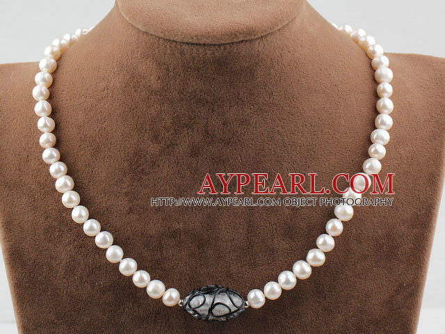Single Strand 7-8mm Round White Freshwater Pearl and Black Colored Glaze Necklace
