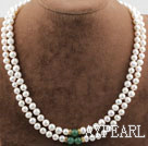Wholesale Two Rows White Freshwater Pearl and Aventurine Necklace