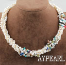 Wholesale Five Strands White Freshwater Pearl and Multi Color Chips Necklace