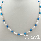 Wholesale Single Strand White Freshwater Pearl and Round Blue Agate Beaded Necklace