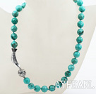 Wholesale Classic Design 12mm Round Faceted Turquoise Beaded Necklace with Tibet Silver Fish Accessories