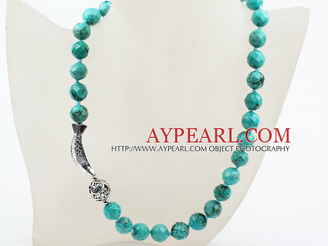 Classic Design 12mm Round Faceted Turquoise Beaded Necklace with Tibet Silver Fish Accessories