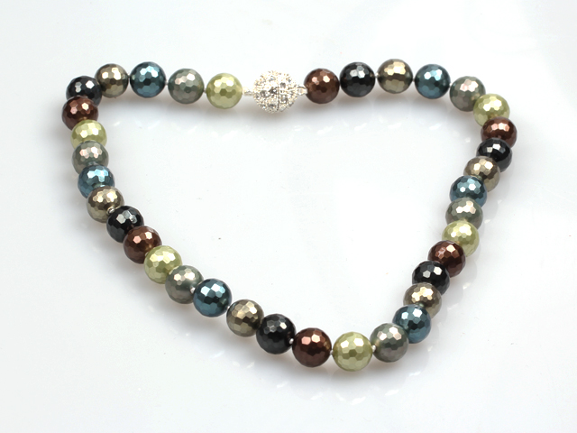 Fashion Single Strand 12Mm Multi Color Faceted Seashell Beads Necklace With Rhinestone Magnetic Clasp