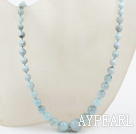 Naturliga rundade Aquamarine Beaded Tower Shape Halsband