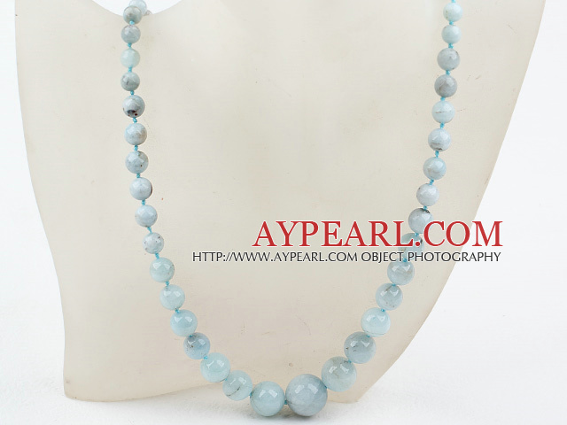 Natural Round Aquamarine Graduated Beaded Necklace