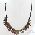Simple Design Green Piebald Stone Necklace with Black Thread