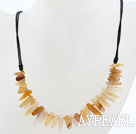 Wholesale Simple Style Yellow Crystal Quartz Necklace with Black Thread